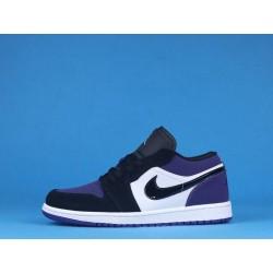 "Air Jordan 1 Low ""Court Purple"" 553558-125 Black Purple"