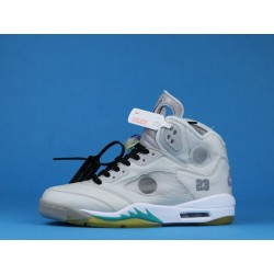 "Off White x Air Jordan 5 ""Sail"" CT8480-105 Gray Yellow"