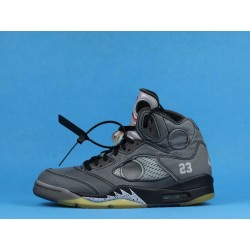 "Off White x Air Jordan 5 ""Muslin"" CT8480-001 Fire Red Black"