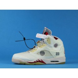 """Off White x Air Jordan 5 """"Fire Red"""" CT8480-002 White Red"""