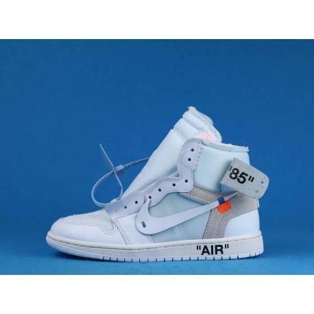 """Off White x Air Jordan 1 High """"White"""" AQ0818-100 White Blue"""