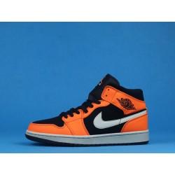 """Air Jordan 1 Mid """"Black Cone"""" 554724-062 Orange Black"""