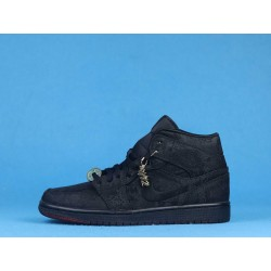 """Clot x Air Jordan 1 Mid """"Fearless"""" CU2804-002 Triple Black"""