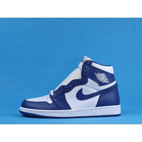 """Air Jordan 1 High """"Storm Blue"""" 555088-127 White Blue"""