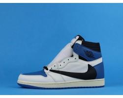 """Travis Scott x Fragment x Air Jordan 1 High """"Military Blue"""" DH3227-105 White Blue 36-47"""