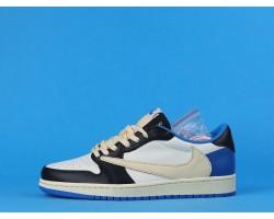 Fragment Design x Travis Scott x Air Jordan 1 Retro Low DM7866-140 White Blue 36-47