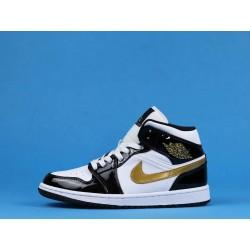 "Air Jordan 1 Mid ""Patent"" 852542-007 Black Gold White"