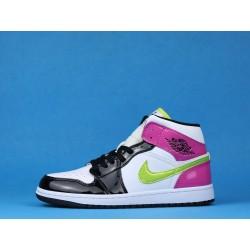 "Air Jordan 1 Mid ""Patent Multi"" CZ9834-100 Pink White Black"