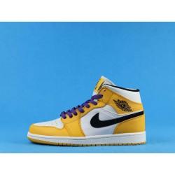 """Air Jordan 1 Mid """"Lakers"""" 852542-700 Yellow White Black"""