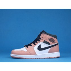 "Air Jordan 1 Mid ""Pink Quartz"" 555112-603 White Black Pink"