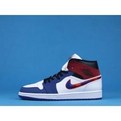 "Air Jordan 1 Mid ""Multicolored Swoosh"" 852542-146 White Blue Red"