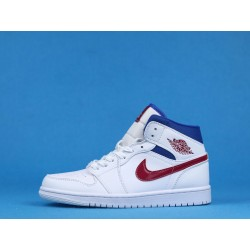 """Air Jordan 1 Mid """"USA"""" BQ6472-164 White Blue Red"""